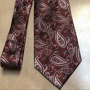 Other - Men's burgundy and silver silk tie